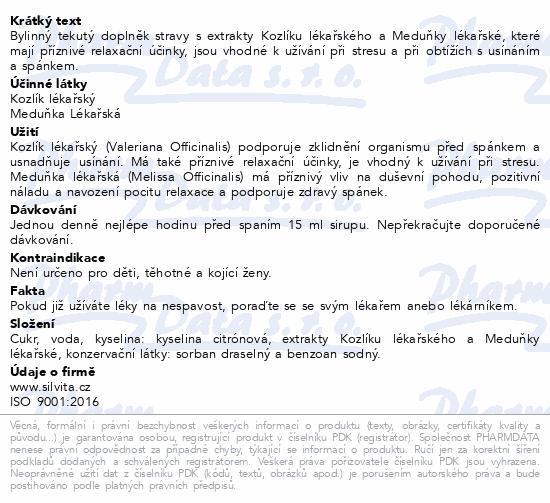 Bylinný tekutý na SPANÍ Kozlík+Meduňka 500ml