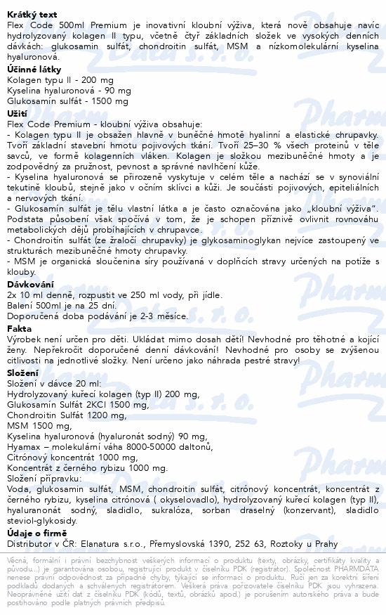 Flex Code 500ml Premium (s kolagenem typu II)