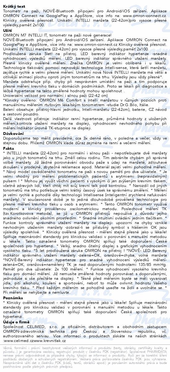 Tonometr OMRON M7 Intelli IT+5let záruka (CELIMED)