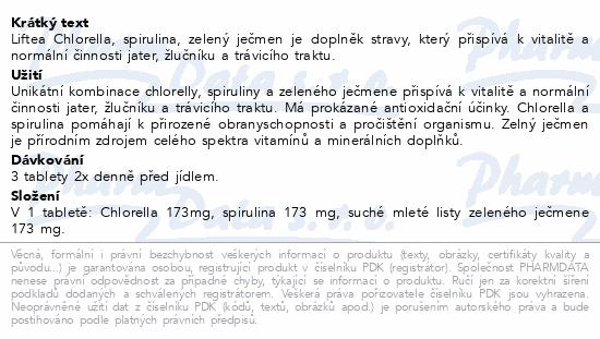 LIFTEA Chlorella-Spirulina-Zelený ječmen tbl.250