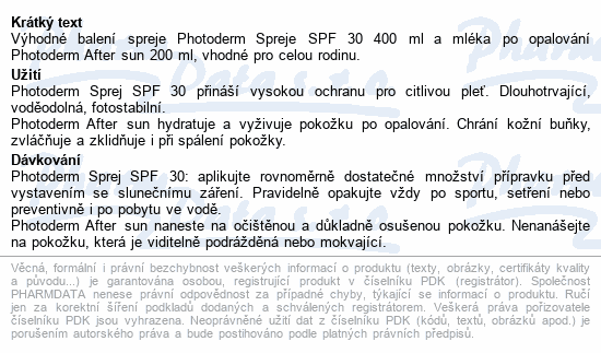BIODERMA Photoderm SprejSPF30 400ml+After sun200ml