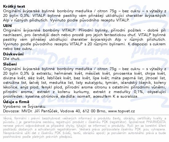 TOPVET -švýcar.bonbóny VITALP citr-meduňka b.c.75g