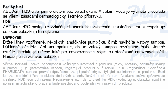 BIODERMA ABCDerm H2O reverzní pumpa 1 l