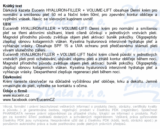 EUCERIN HYALURON-FILLER+VOLUME-LIFTván.kazeta 2020