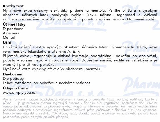 Panthenol 10%Swiss PREMIUM gel s mentolem 100+25ml