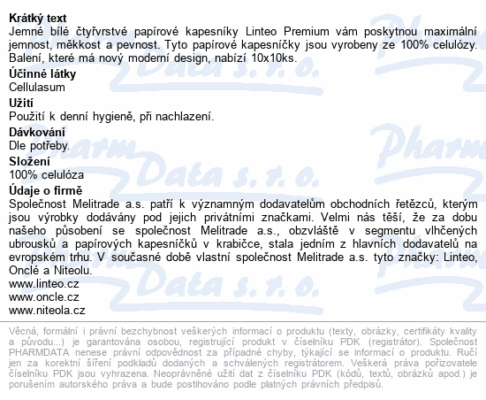 Papírové kapes. LINTEO PREMIUM-4-vrstvé bílé 10x10
